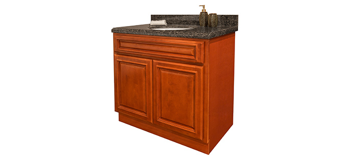 Nothing says luxury quite like custom cherry bathroom cabinets summit cabinet for Cherry wood bathroom furniture