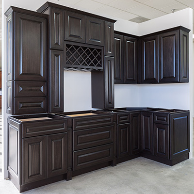 Mitered Charcoal Kitchen Cabinets